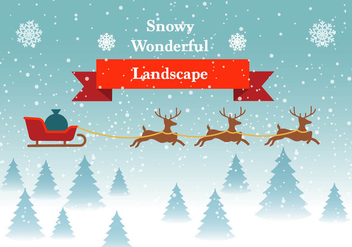 Free Vector Winter Landscape With Reindeers - Free vector #419007