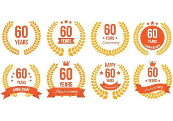 60th Badges - vector #419107 gratis