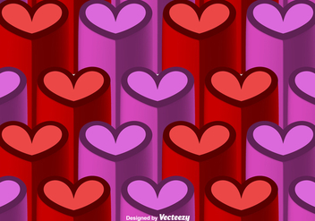 Vector 3D Heart Seamless Pattern - Kostenloses vector #419167