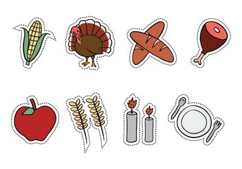 Thanksgiving Hand-Drawn Icons - Free vector #419207