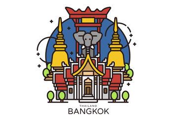 Bangkok Landmark Vector Illustration - бесплатный vector #419257