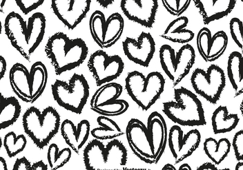 Vector Seamless Pattern With Hand Drawn Hearts - Free vector #419767
