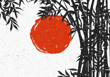 Bamboo Silhouette With Red Sun - vector gratuit #419867