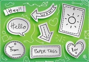 Vector Paper Tags With Messages - бесплатный vector #419897