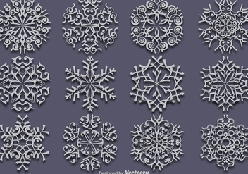 Vector Set Of 12 White Snowflakes - vector #419947 gratis