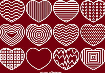 Vector Hearts Line Icons Set - vector gratuit #419997