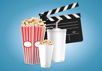 Vector Cinema and Popcorn Box - Free vector #420097