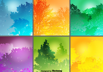 Colorful Forest Backgrounds Vector Set - Free vector #420137