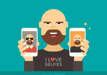 Free Man Showing Selfies Vector Illustration - Kostenloses vector #420407
