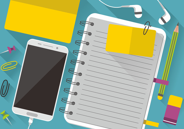 Colorful Block Notes and Smartphone Vector Design - бесплатный vector #420637