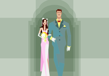 Bride and Groom Walking Illustration - бесплатный vector #420777