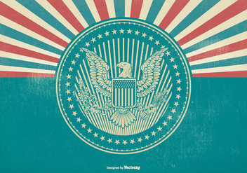 American Eagle Seal on Retro Background - бесплатный vector #420997