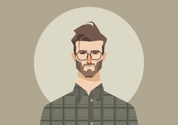 Young Man With Glasses And Flannel Shirt Vector - Free vector #421057