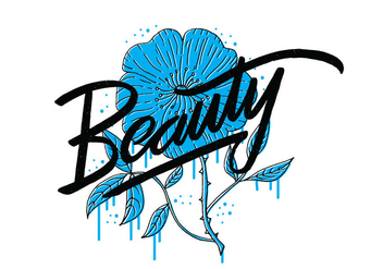 Beauty Blue Flower Lettering - vector gratuit #421107