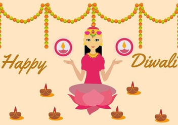 Free Goddess Lakshmi Vector Illustration - vector #421337 gratis