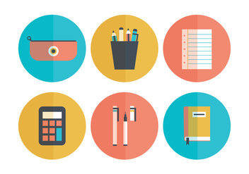 Set Of Flat School Icons - Free vector #421347