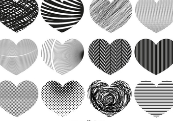 Vector Abstract Hearts Of Different Textures - Free vector #421437