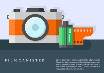 Camera and Film Canister Background - vector gratuit #421567