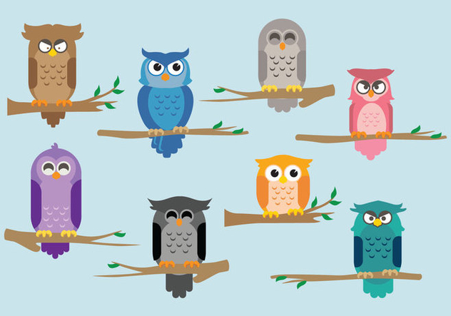 Cartoon Buho on Branch Vectors - vector gratuit #421677