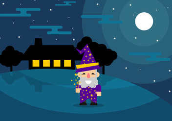Fun Wizard at Night Vector - бесплатный vector #421697