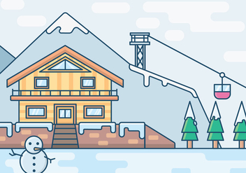 An Illustration of a Vacation Resort in Winter - бесплатный vector #421777