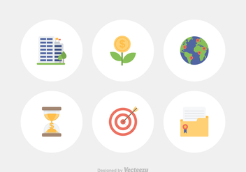 Flat Business Vector Icon Set - vector gratuit #421837