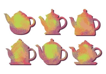 Teapot water color vector - бесплатный vector #421867