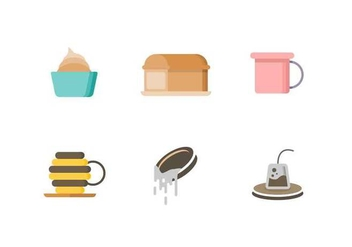Free Cute Tea Time Objects Vector - vector gratuit #421887