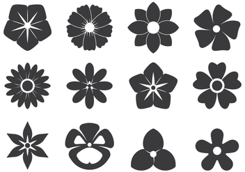 Black Cutout Symbols Of Flowers - Free vector #421917