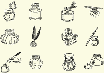 Sketchy Hand Drawn Ink Jar Vectors - бесплатный vector #421947