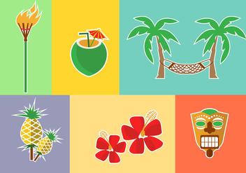 Hawaii Icons Vectors - Free vector #422027
