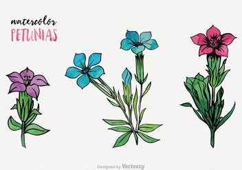 Watercolor Petunia Vector Set - Free vector #422177
