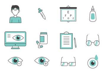 Teal Thin Line Eye Doctor Icons - Free vector #422247