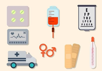 Flat Hospital Elements - vector gratuit #422317