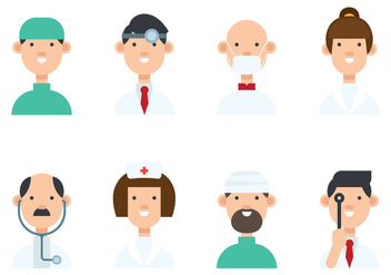 Set of Various Doctor Avatar Vectors - Kostenloses vector #422367