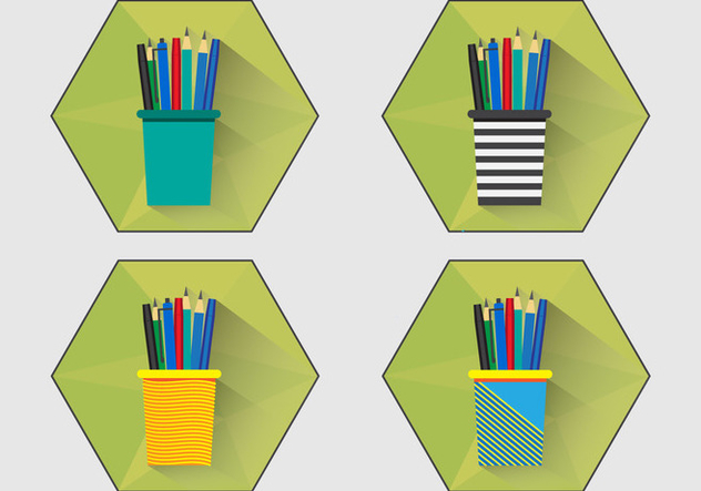 Pen Holder Flat Icon - vector #422417 gratis
