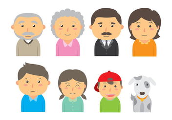 Cute Familia Icon Vectors - бесплатный vector #422727