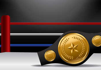 Championship Belt on Boxing Ring Vector - Free vector #422847
