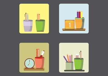Pen Holders in Four Scenes Vectors - vector gratuit #422897