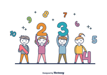 Kids Holding Numbers Vector - Free vector #422957