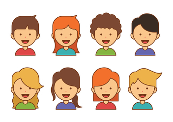 Kids Avatar Icons - Free vector #423147