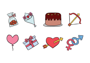 Valentine Doodle Icons - Free vector #423177