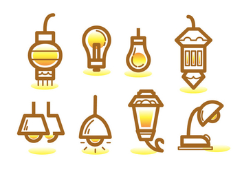 Ampoule Line Icon Set - vector gratuit #423197