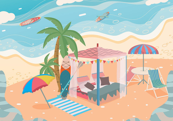 Private Cabana Beach Vector - Free vector #423267