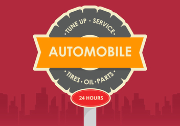 Retro Automobile Vector Sign - vector #423307 gratis