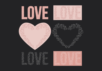 Vector Hearts and Text Delicate Elements - vector gratuit #423327