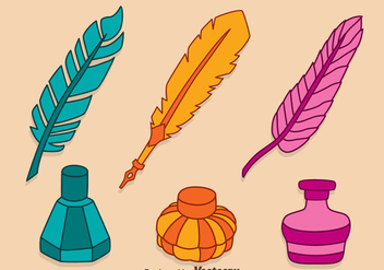 Hand Drawn Colorful Inkwell Vectors - vector gratuit #423347