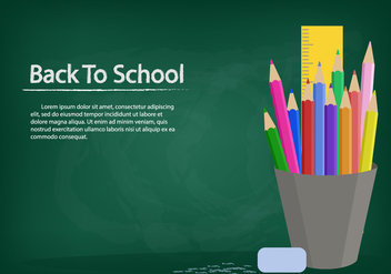 Template Background With Chalk Board And Stationary - vector gratuit #423377