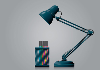 Pen Holder and Lamp in Realist Style - Free vector #423467