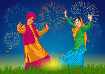 Bhangra Dancers at Night Vector - vector gratuit #423477